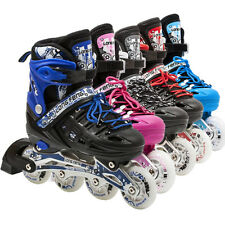 Light Up Adjustable Kids Roller Blades Inline Skates Size 13J-3 4-6 7-9