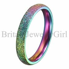 LGBT Gay Lesbian Rainbow Color Stainless Steel Wedding Ring Band Size 5 6 7 8