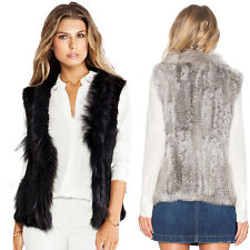 Women 100% Real Genuine Knitted Rabbit Fur Vest Round Collar Outwear Casual Coat