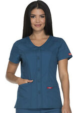 Scrubs Dickies Button Front V-Neck Top DK605 CAWZ Caribbean Blue Free Shipping