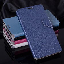 Luxury PU Leather Silk Grain Flip Wallet Case Cover For Samsung Various Models
