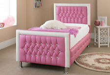 Faux Leather Bed Small Double 4FT Pink - Red - White - Black + Memory Foam