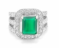 925 Sterling Silver Ring with Natural Green Onyx Gemstone Emerald Cut Handmade.