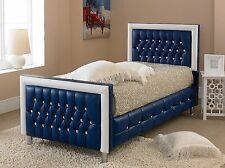 Faux Leather Bed Small Double 4FT Blue-Red-White-Black + Memory Foam Mattress