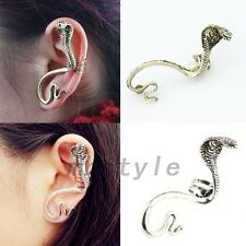 Punk Cobra Snake Gothic Stud Hanging Earrings Long Ear Cuff Clip Costume Jewelry