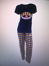 Los Angeles Lakers Ladies 2 Piece Sleep Set V-Neck T-shirt & Flannel Pajama