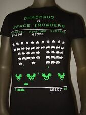 New Juniors Fitted Black Deadmau5 X Space Invaders Band electronic DJ T Shirt