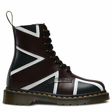 Dr.Martens Pascal Brit 8-Eye Navy Oxblood Womens Leather Ankle Boots Union Jack