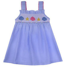 Girls Dress Blue Striped Smocked Sea Shells Sundress Babeeni NWT Infant Toddler