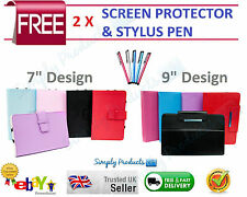 """Universal Folio Leather Flip Case Cover For Android Tablet PC 7"""" 9"""" Android PC"""