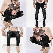 Stylish Mens Designed Straight Slim Fit Denim Jeans Trousers Casual Skinny Pants