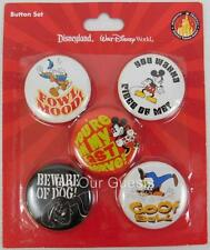 Disney Parks Button set Donald Goofy Mickey Minnie Pluto Angry Grumpy Mood New