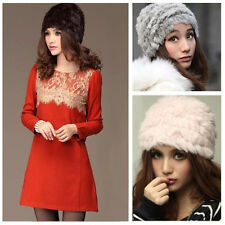 Fashion Russian Lady Rabbit Fur Knitted Cap  Women Winter Warm Beanie Hat RB