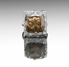 925 Sterling Silver Ring with Brown Natural Smoky Topaz Gemstone Handmade.
