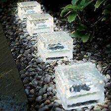 GLASS ICE CUBE WHITE LED SOLAR POWERED BRICK OUTDOOR GARDEN PATH PATIO LIGHT