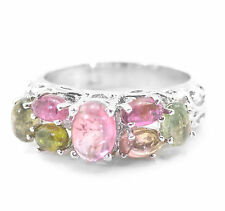 Sterling Silver Ring with Multicolor Tourmaline Natural Oval Cut Gemstones eBay