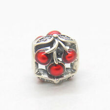 Genuine Authentic S925 Sterling Silver Red Enamel Sweet Cherries Bead Charm