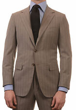 Sartoria PARTENOPEA Hand Made Gray Striped Silk-Wool Super 150'S Suit NEW