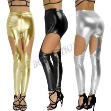Women Fashion PU Leather Wetlook Shiny Skinny Stretchy Cutout Leggings Pants
