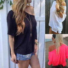 Stylish Womens Off-shoulder T-shirt Loose Exquisite Blouse Tops Summer Shirt New