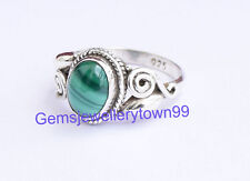 Green Malachite Ring 925 Sterling Silver Stone Ring Size 4 5 6 7 8 9 10 11 R22ML