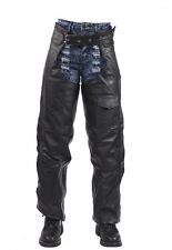 Motorcycle Split Leather Braided Biker Chaps One Pocket Black New -Free Shipping