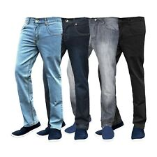 Mens Regular Fit Jeans Straight Leg Basic Denim Trouser Pants Regular Short Long