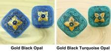 Handmade Large Czech Glass Buttons Square Flower Gold Black Blue Opal Size 14, 3