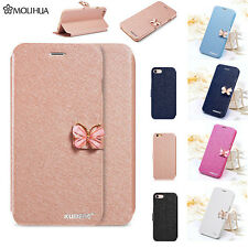 For iPhone 7 Plus Magnetic Butterfly Silk Leather Stand Flip Wallet Case Cover