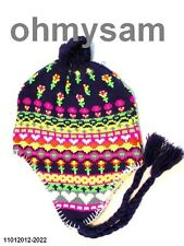 1 NEW NEON NULTI COLOR PERUVIAN STYLE THERMAL EAR FLAP SKI HAT / TIES FREE SHIP