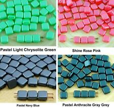 40pcs Pearl Tile Flat Square 2 Two Hole Czech Glass Beads 6mm