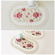 1/4PCS Embroidered Daisy Flower Lace Pad Doily Fabric Oval Table Placemats Mat