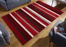 RED STRIPES 100%  Wool RUG  Modern Contemporary Design  RUG  S -M  Size 30%OFF
