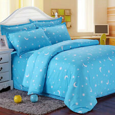 Blue Star Moon Single Double King Size Bed Set Pillowcases Quilt Duvet Cover