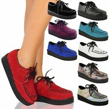 New Womens Ladies Creeper Goth Punk Platform Lace Up Shoes Flat Size