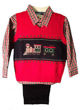 Boys Christmas Outfit Train Design Red Sweater Vest, Shirt, & Pants NWT Good Lad