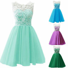 Kids Girls Soft Summer Party Lace Dress Wedding Prom Dresses Age 3-14 Years
