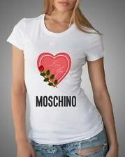 White Sexy Women Modern Top Tee T-shirt Heart 3 Love Moschino
