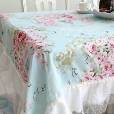 French Country Cottage Shabby Chic Floral Rose Blue Pink Table Cloth GH