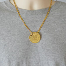 "1896 Morgan Coin Necklace Pendant 24k Gold Plated Necklaces 18"" - 22"" Curb Chain"