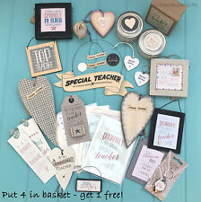 Pretty Teacher Presents - School Leaving Gifts - Thank You Signs - East of India