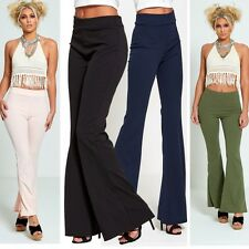 Womens Ladies Bell Bottom Palazzo Office Trousers Wide Leg Flared Pants Leggings