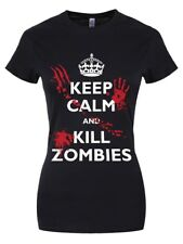 Keep Calm and Kill Zombies Ladies Black T-Shirt