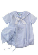Boys Romper with Hat Nautical Baby Blue Petit Ami Infant NWT