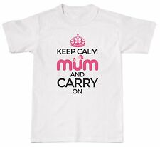 Keep Calm And Carry On Mum Mens Womens Cotton T-Shirt T shirt