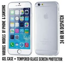 Thin Gel Rubber back Case & tempered glass screen protector for iPhone & Samsung
