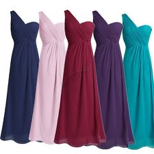 One Shoulder Wedding Bridesmaid Prom Ball Chiffon Evening Long Gown Womens Dress