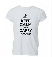 Keep Calm and Carry a Wand Potter Deathly T Shirt Tshirt Mens Womens Gift