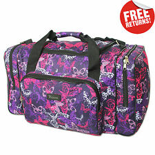 Purple Butterfly Womens Hand Luggage Travel Cabin Bag Weekend Holdall