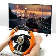 V3II USB Game Steering Wheel Plug and Play/Dual Motor Vibration Orange for PC